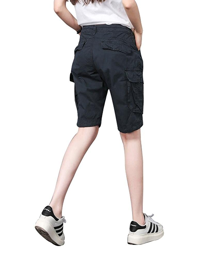 3de35523abc Amazon.com  MUST WAY Women s Casual Loose Fit Relaxed Sports Wear Bermuda  Cargo Shorts with Multi Pockets 18330GKNK3 Blue 36  Clothing