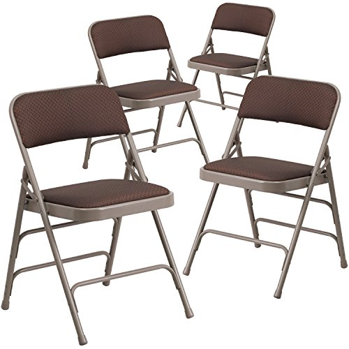 Flash Furniture 4 Pk. HERCULES Series Curved Triple Braced & Double Hinged Brown Patterned Fabric Metal Folding (Fabric Metal Folding Chair)