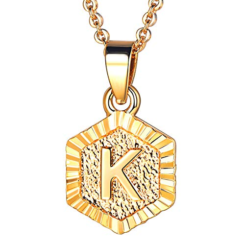 U7 Tiny Hexagon Initials Necklace for Women Girls 18K Gold Plated 26 Initials Jewelry A to Z Capital Letter Charm Embossed Grain Monogram Pendant with 18-20 Inch Rolo Chain, Alphabet K