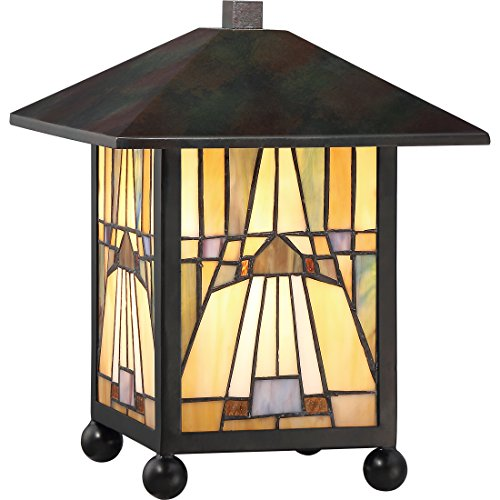 "Quoizel TFIK6111VA Inglenook Mission Tiffany Lantern Table Lamp, 1-Light, 60 Watts, Valiant Bronze (11"" H x 9"" W)"