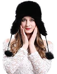 9249de54490 Women s Winter Trapper Hat Genuine Fox Raccoon Fur Russian Ushanka Hat