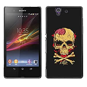Ihec Tech Negro Cerebral Blood Crossbones Cráneo / Funda Case back Cover guard / for Sony Xperia Z L36H