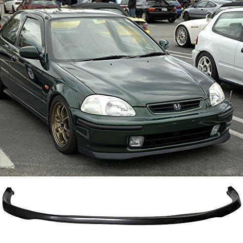 Front Bumper Lip Fits 1999-2000 Honda Civic | JDM SIR Style PU Black Front Lip Spoiler Splitter by IKON -