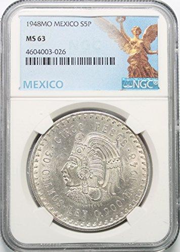 (1948 MX Mexico Silver Chief Cuahtemoc 5 Peso (Cinco Peso) MS63 NGC)