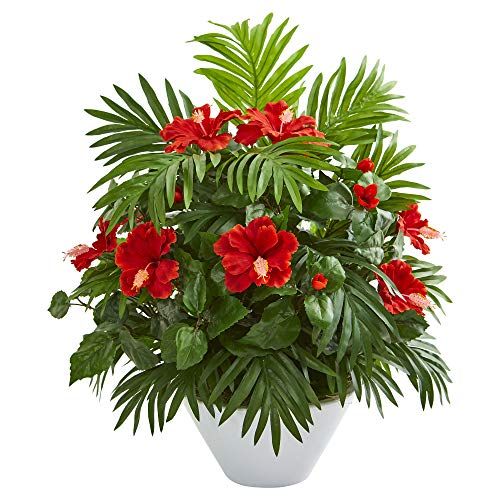 - Nearly Natural 8380 Hibiscus and Areca Palm Artificial White Bowl Silk Plants Red