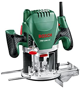 Bosch Fresadora de superficie POF 1200 AE, fresa de ranurar, adaptador de aspirar, llave de boca,casquillo copiador, tope paralelo, 3 pinzas de sujección, perno centrador (1.200 W,max. 28.000 1/min)
