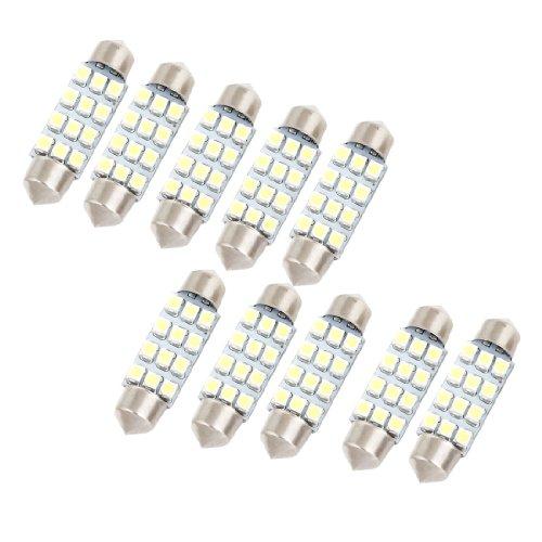 uxcell 10x 41mm White 12 LED 3528 SMD Festoon Light 214-2