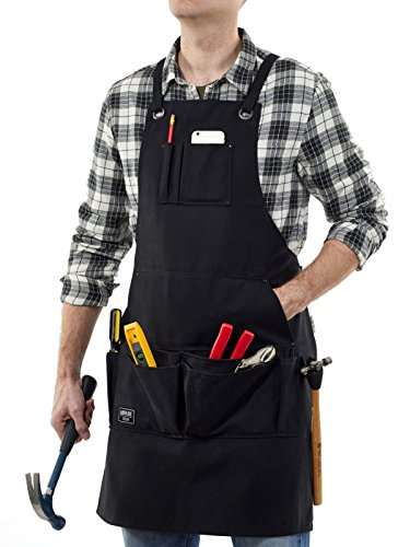 Waxed Canvas Workshop Apron with Pockets in Black - Fits Men & Women - 15x Reinforced Pockets for Tools and Accessories & 2x Hammer Loops - Adjustable Size up to XXL - Heavy Duty - By Absolute Gear