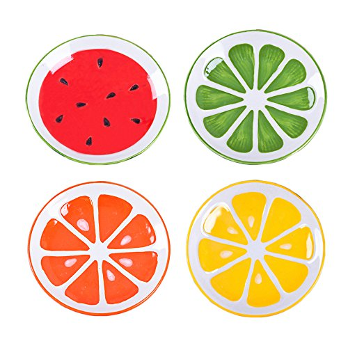 Orange Soy Sauce - Colias Wing Adorable Fruits Serises Watermelon/Cantaloupe/Lemon/Orange Pattern Design Multipurpose Porcelain Side Dish Bowl Seasoning Dishes Soy Dipping Sauce Dishes-Set of 4-Green/Red/Orange/Yellow