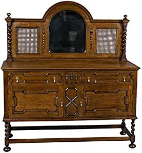 antique oak sideboard with mirrored back. Black Bedroom Furniture Sets. Home Design Ideas