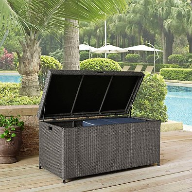 [해외]Crosley Palm Harbor 옥외 위커 보관함, 회색/Crosley Palm Harbor Outdoor Wicker Storage Bin, Grey