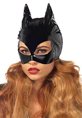Cat Women Costumes (Leg Avenue Women's Vinyl Cat Woman Mask Costume Accessory, Black, One Size)