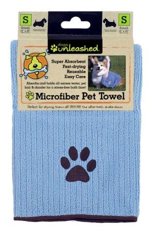 Dogs Unleashed Ritz Microfiber Pet Towel, Small/Medium, Light Blue, My Pet Supplies
