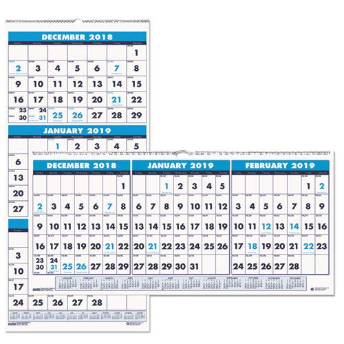 (Recycled Three-Month Horizontal Wall Calendar, 17 x 8, 14-Month, 2018-2020)