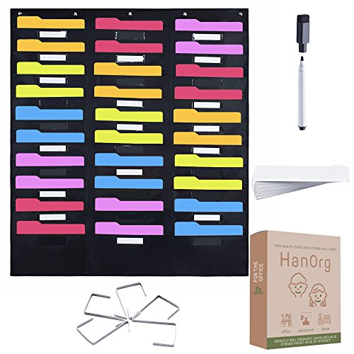 30 Pocket Storage Pocket Chart | Includes 5 Over Door Hooks, 30 Label Cards & A Marker | Organize your Files, Work, Assignments, Classroom & More, Premium 48 x 42 ()
