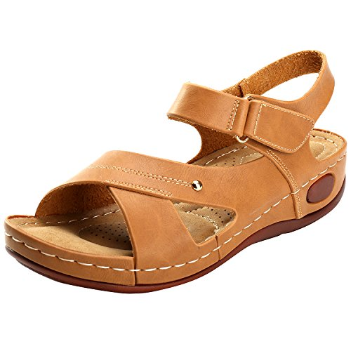 Alexis Leroy Summer Ankle Strap Comfort Sole Open Toe Flat Womens Sandals Camel jsSy8N9g