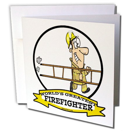 (3dRose Dooni Designs Worlds Greatest Cartoons - Funny Worlds Greatest Firefighter II Cartoon - 12 Greeting Cards with envelopes (gc_103182_2))