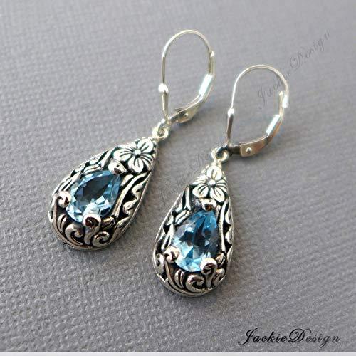 (Tear Drop Blue Topaz Earrings Bali Sterling Silver JD152)