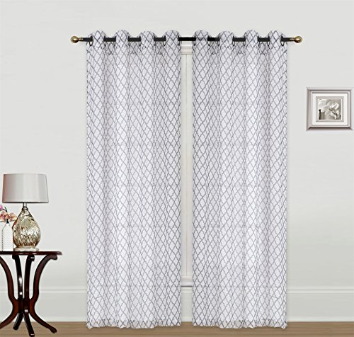 Kashi Home 2 Piece Savannah 54x84 Decorative Moroccan Printed Crushed Sheer Curtain Panels for Living Room Bedroom Window Door Grommet Top, Taupe ()