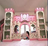 wooden bed with slide - luxury European American style princess castle bed with ladder,slides, book cabinet and play place under