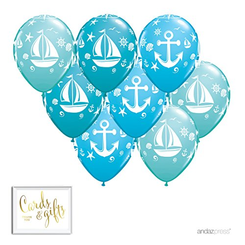 Andaz Press Printed Latex Balloon Party Kit with Gold Cards & Gifts Sign, Nautical Aqua, 8-Pk, Sailor Birthday Baby Shower -