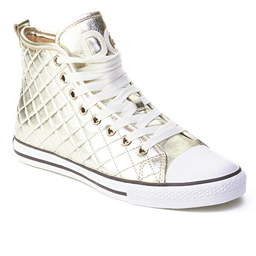 Dolce & Gabbana Women's Quilted Leather High Top Sneaker Shoes Gold