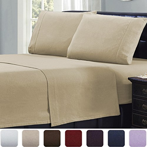 Mellanni 100% Cotton 4 Piece Flannel Sheets Set - Deep Pocket - Warm - Super Soft - Breathable Bedding (Queen, Beige)