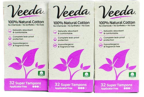 Veeda Natural All-Cotton Tampons, 96 Ct Super, Non-Applicator, 3 Packs of 32 Count