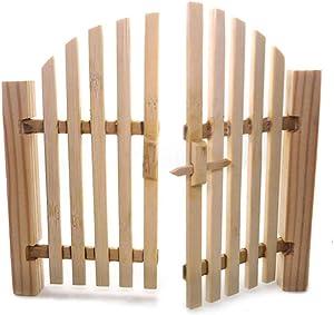 Toyvian Fairy Garden Gate 1:12 Dollhouse Door Miniature Garden Fence Wooden Crafts DIY