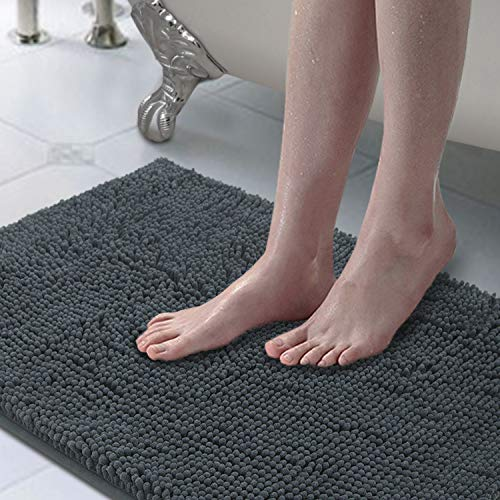 LINLA Non-Slip Soft Microfibers Chenille Rugs with Machine-Washable,Super Absorbent with Shaggy Rugs Perfect for Bathroom(20″x32″Dark Grey)