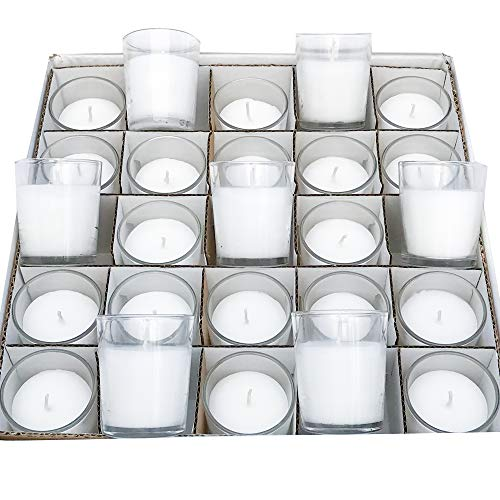 Simply Soson Set of 50 Unscented Clear Glass Wax Filled Votive Candles, Up to 15 Hour Burn Time. Hand Poured Candle & Glass Votive