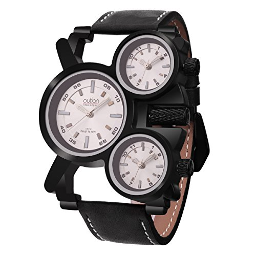 Men's Big Face Unique Military Watch - Three White Analog Dials, Japanese Quartz Movement and Genuine Strap (Top Movement) (Dial Quartz Japanese Movement)