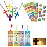 BizzyBecca Spanish Christian Party Favors - (48 Sets) - Spanish Jesus Loves Me Stickers, Bright Color Crystal Cross Necklaces, Spanish Jesus Loves Me Bookmarks and Bonus Wallet Card