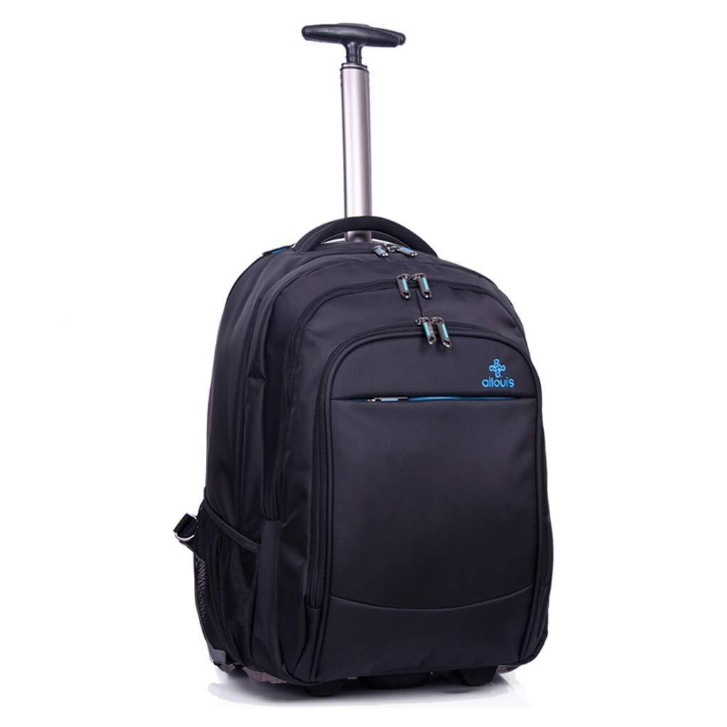 2ラウンドのビジネストラベルトロリーバックパック、ビジネストラベル荷物収納バッグ、ラップトップショルダートラベルボーディングブラック(35 * 28 * 48 cm) (色 : ブラック, サイズ さいず : 35*28*48cm) B07S47BQ94 ブラック 35*28*48cm