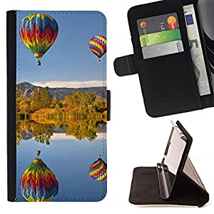 - Balloon ball Colourful Air - - Monedero pared Design Premium cuero del tir?n magn?tico delgado del caso de la cubierta pata de ca FOR HTC One M8 Funny House