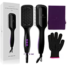 Ionic Hair Straightener Brush, GLAMFIELDS Electrical Heated Irons Hair Straightening with Faster Heating, MCH Ceramic Technology, Auto Temperature Lock, Anti Scald, Heat Resistant Glove (Black-02)