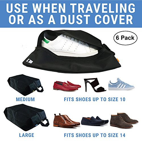 6 Premium Shoe Travel Bags for Women and Men | 3 Large and 3 Medium Nylon Zipper Bags for Storage No Dust by Simple Shine (Image #3)