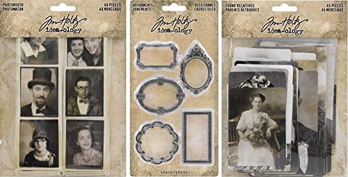 Idea-ology Tim Holtz 2019 Found Relatives Vintage Portraits, Photobooth Vintage Photo Strips and Metal Deco Frames - 3 Item -