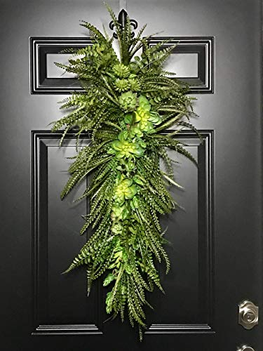 Extra Large Succulent & Fern Tropical Teardrop Swag Wreath for Front Door Porch Patio Indoor Outdoor Wall Home Decor Accent Year Round Spring Summer Summertime Rustic Farmhouse, Handmade 30