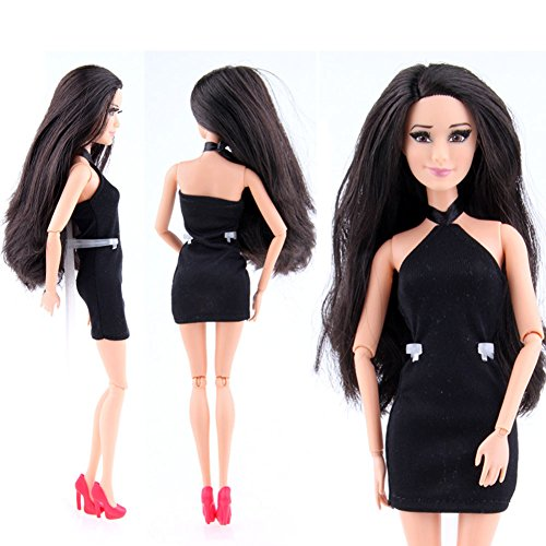 DSstyle Fashion Classic Cute Princess Barbie Dolls Short Evening Party Dress Black - West Stores Mall Lake