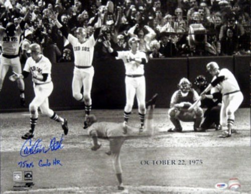 CARLTON FISK AUTOGRAPHED 16X20 PHOTO BOSTON RED SOX