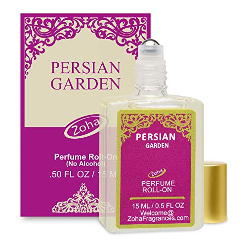 Persian Garden Perfume Oil Roll-On (No Alcohol) Persian Oil Fragrance - Essential Oils and Perfumes for Women and Men by Zoha Fragrances, 15 ml / 0.50 fl Oz