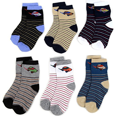 Foemo Baby & Toddler Boys Socks - 6 Pack Crew Socks - Assorted Colors & Designs - Soft Cotton Blend - 0-3 Months & 2-4 Years (2-4 Years - Car)
