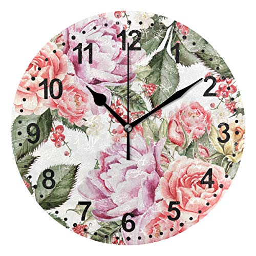 (SUABO Round Wall Clock Silent Non Ticking Home Decorative Home Office School Clock Peony Flowers Painting)