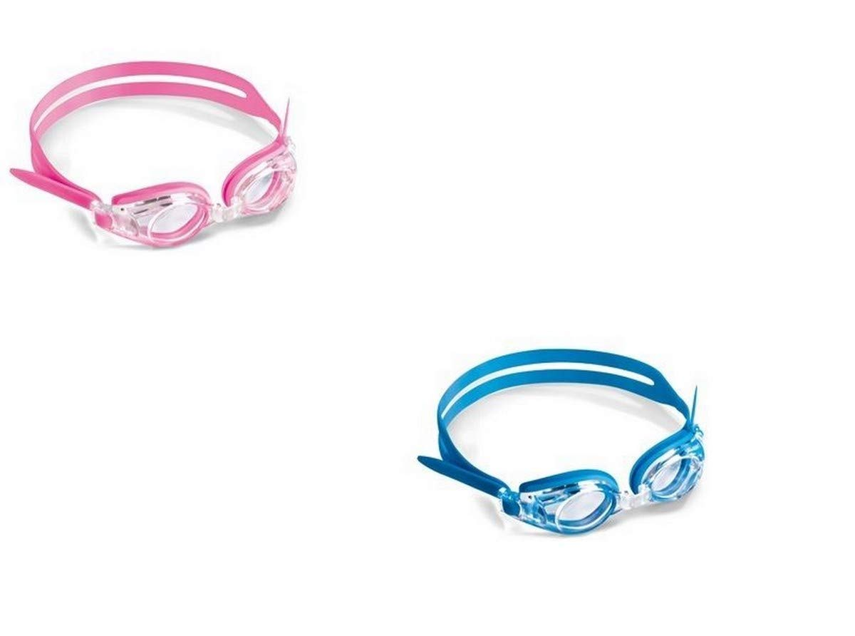 Optical Swimming Goggles For Kids Children Ages 3 - 9 Pink Plus Powers Left (+5.00) Right (+5.00) by Sports Vision World (Image #1)