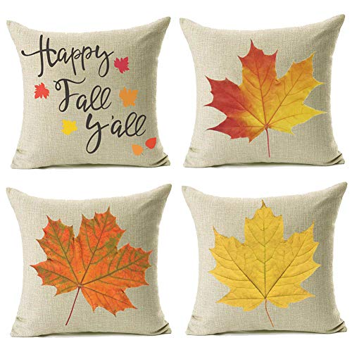 20x20 Fall Decor Pillow Covers, Decorative Maple Leaves Fall Autumn Throw Pillow Shams Cover Cases Set of for Couch