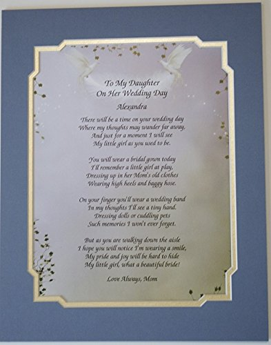 Amazon.com : To My Daughter On Her Wedding Day Poem Personalized ...