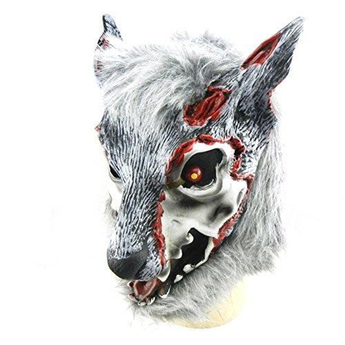 (wonderfulwu Halloween Injured Wolf Latex Head)