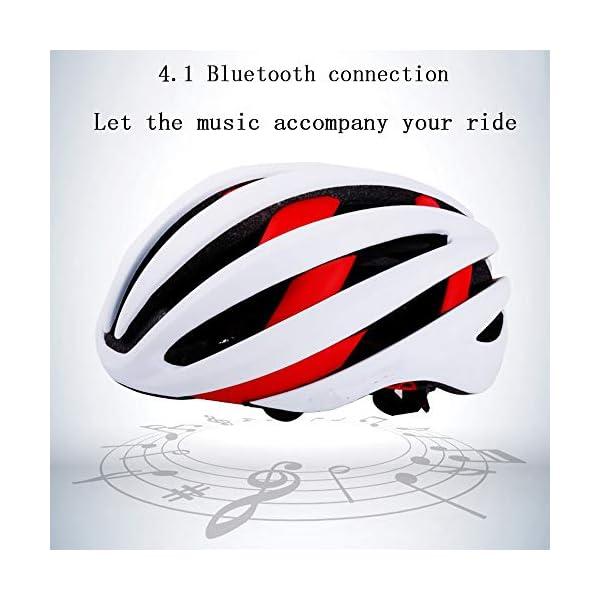 EDW Casco Bluetooth Intelligente per Bici Musica Chiamata Intelligence Cappellino di Sicurezza Equipaggiamento Protettivo Antiurto Leggero 5 Colori Incluso fanale Posteriore Staccabile,Whitered 3 spesavip