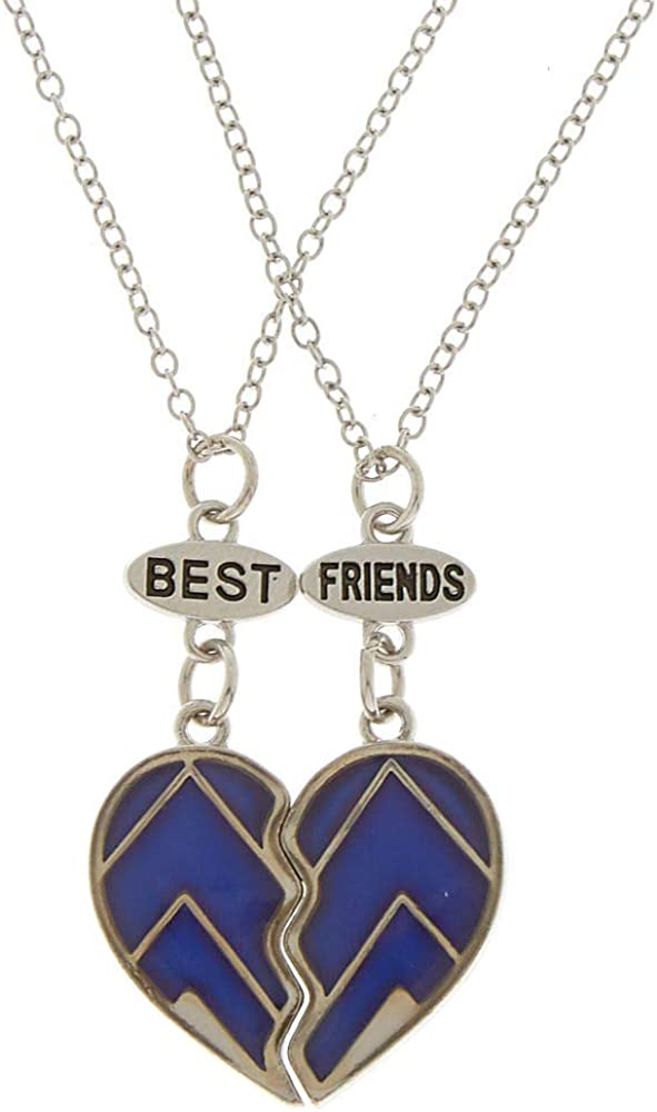 2 Pack Blue//Pink Claire/'s Girl/'s Sisters Heart Pendant Necklaces
